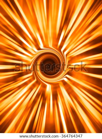 Vertical orange spiral rays swirl abstraction background - stock photo
