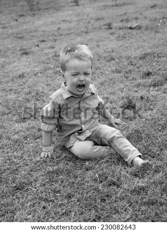 vertical orientation close up of a toddler boy sitting in a field of grass, having a tantrum, in black and white, with copy space / Toddler Tantrum - stock photo