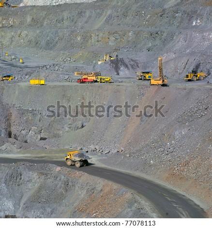 vertical panorama open-cast mine of iron ore - stock photo
