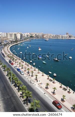 Vertical panorama view of promenade and bay in Sliema, Malta. - stock photo