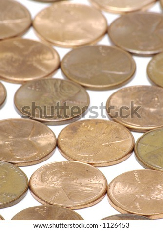 Vertical Pennies Background - stock photo