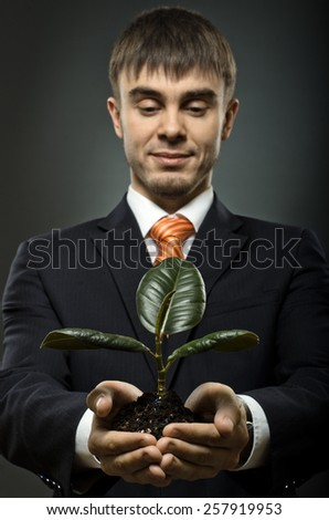 vertical photo  businessman in blue costume with  scion  rubber plant - stock photo