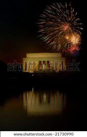 Vertical photo of fireworks above Lincoln Memorial Washington DC - stock photo