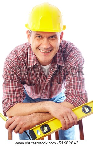 vertical portrait of a smiling handsome man-builder in helmet with tool on a white background - stock photo