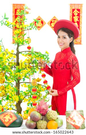 Vertical portrait of a young girl in traditional dress decorating Hoa Mai over a white background - stock photo