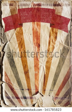 Vertical retro revival sunbeam poster background in colour - stock photo