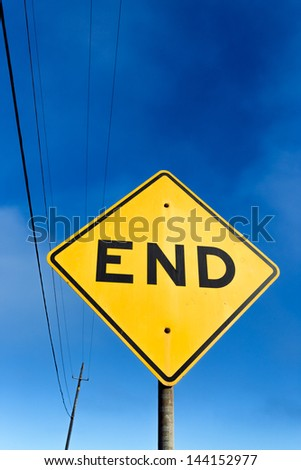 Vertical Road Sign Displaying End - stock photo