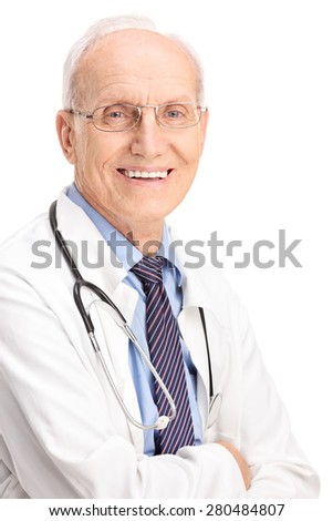 Vertical shot of a cheerful mature doctor carrying a stethoscope and smiling isolated on white background - stock photo