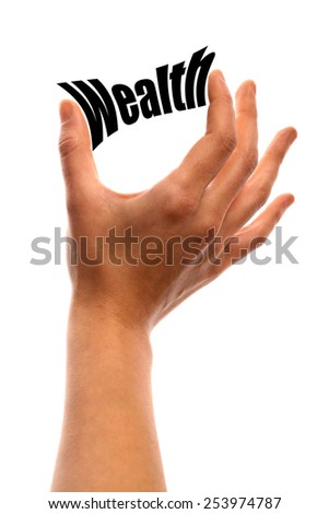 """Vertical shot of a hand holding the word """"Wealth"""" between two fingers, isolated on white. - stock photo"""