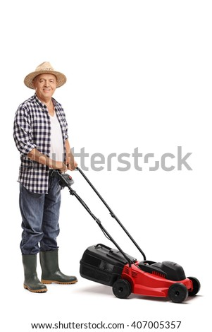 Vertical shot of a mature man posing with a red lawn mower isolated on white background - stock photo