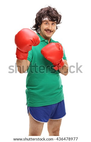 Vertical shot of a retro guy with red boxing gloves isolated on white background - stock photo