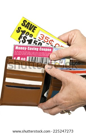 Vertical Shot Of Shopper With Coupons/ Save Money Use Coupons/ Coupons Are Not Real/ Isolated On White - stock photo