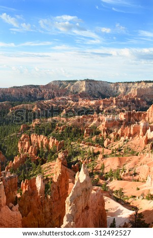 Vertical shot of the Amphitheater seen from the Queens Garden Trail in Bryce Canyon National Park, Utah. The Amphitheater is famous for it numerous formations called Hoodoos. - stock photo