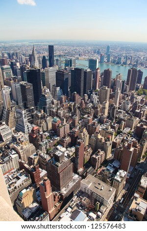 Vertical skyline of midtown Manhattan in New York City, United States - stock photo