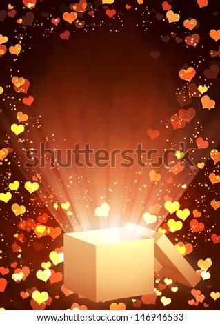 Vertical valentine background with magic box - stock photo