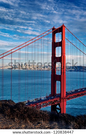 vertical view of Golden Gate Bridge in San Francisco, California, USA - stock photo