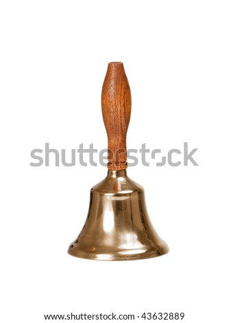 Vertical view of handbell isolated against white - stock photo