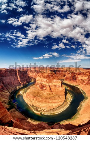 vertical view of Horse Shoe Bend at Utah, USA - stock photo