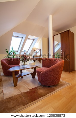 Vertical view of living room interior - stock photo