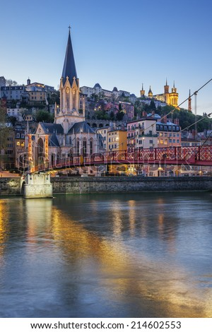 Vertical view of Lyon with Saone river at night  - stock photo
