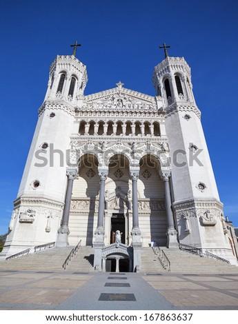 Vertical view of Notre Dame de Fourviere basilica, Lyon, France - stock photo