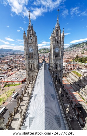 Vertical view of the Basilica in the historic center of Quito, Ecuador - stock photo