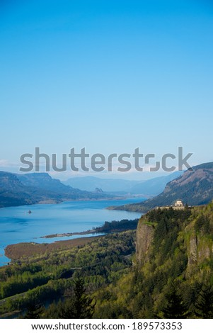 Vertical view of the Columbia River Gorge - stock photo