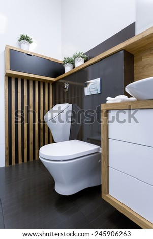 Vertical view of white toilet in new washroom - stock photo
