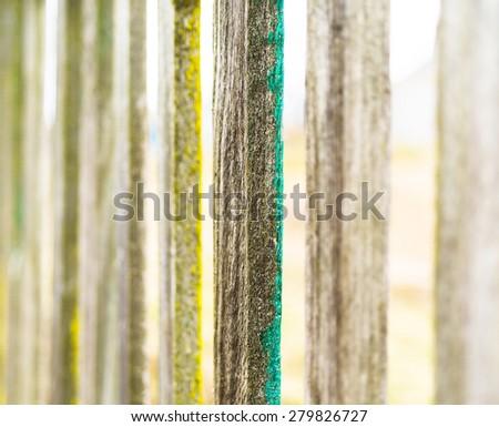 Vertical vintage fence border bokeh background backdrop - stock photo