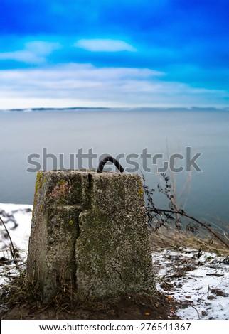 Vertical vivid northern concrete metal fastener  background backdrop - stock photo