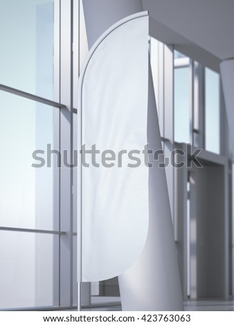 Vertical wind banner in bright office interior. 3d rendering - stock photo