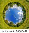 Vertigo sphere world. panoramic image looks like green planet. Ecology and space concept - stock photo