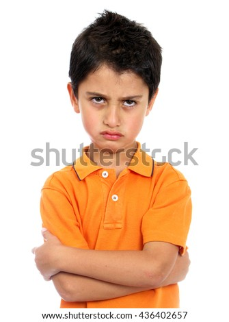 Very angry boy isolated over white - stock photo
