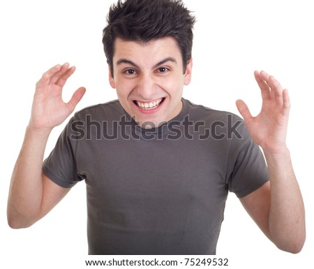 very angry casual man screaming and gesturing isolated on white background - stock photo