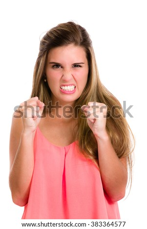 Very angry, pissed off, furious. Hispanic young woman expression series. Image isolated on white with clipping path. - stock photo