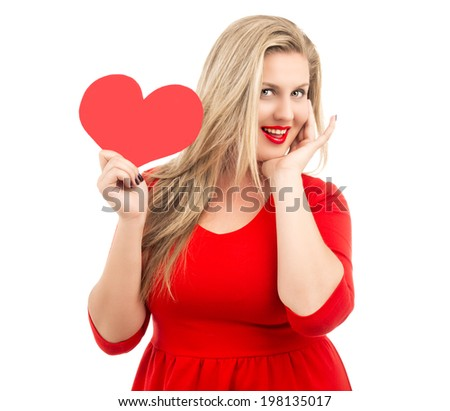 very beautiful blond woman with a paper heart in her hands, isolated on white background, Valentine's day topic - stock photo