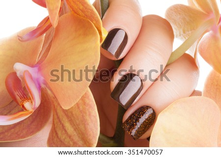 Very beautiful brown nails close up and flower. - stock photo
