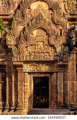 very beautiful gate of Banteay Srei castle, Cambodia - stock photo