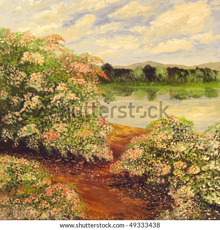 Very Beautiful Large scale landscape painting oil on Canvas - stock photo