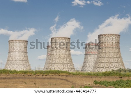 Very big atomic coolers of the power plant - stock photo