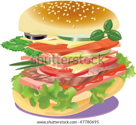 Very big sandwich on a napkin. - stock photo