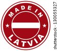 very big size made in latvia country label - stock photo