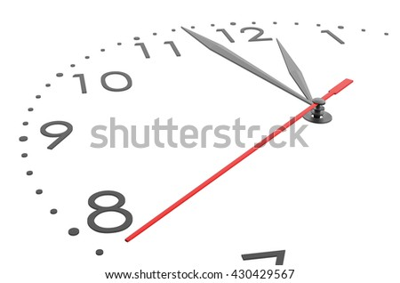 Very close details of big watch, isolated on white background. 3D illustration - stock photo