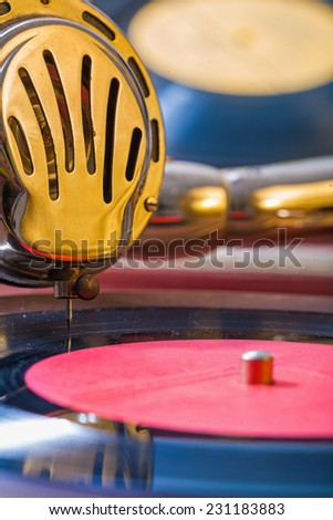 very close up view on speaker of old gramophone - stock photo