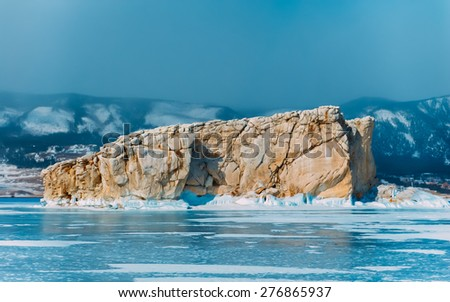 very cool pure ice of the frozen lake with clean fresh . lake Baikal - stock photo