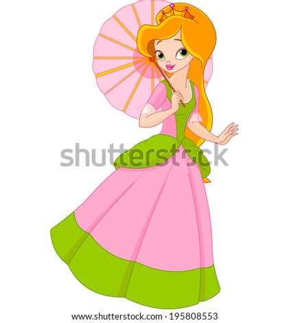 Very cute and beautiful  princess at summer day under umbrella. Raster version.   - stock photo