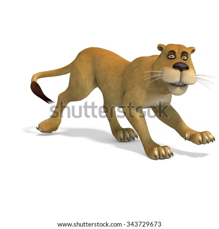 very cute and funny female cartoon lion. 3D rendering with clipping path and shadow over white - stock photo
