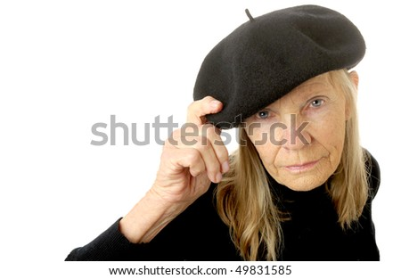 very Cute Image of a senior woman In a beret - stock photo