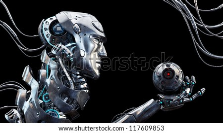 Very detailed 3d robotic man / Stylish robot in profile with cam - stock photo