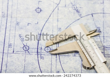 Very detailed mechanical engineering blueprint with gauge - stock photo